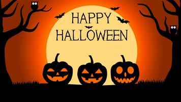 Halloween-achtergrond met silhouetten van pompoenen onder volle maan vector