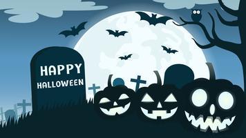 Halloween-achtergrond met de duivel van de glimlachpompoen in kerkhof en de volle maan - Vectorillustratie