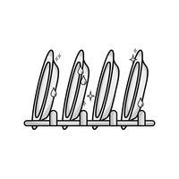 grijswaarden porseleinen servies gerei ontwerp vector