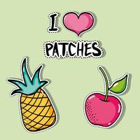 tropisch patches fruitontwerp instellen