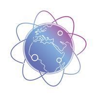 lijn aarde planeet met banen pijl vector
