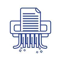 lijn kantoor papiervernietiger machine ontwerp vector