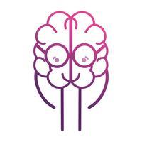 lijn schattige hersenen kawaii met een bril vector