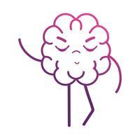 lijn schattig hersenen kawaii met armen en benen vector