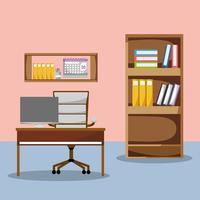 kantoor met bureau en accessoires plat om te werken
