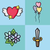 decor voor Valentijnsdag patches instellen