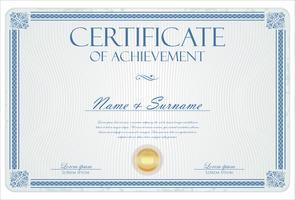 Certificaat of diploma retro vintage sjabloon vector