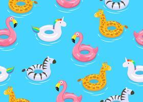 Het naadloze patroon van kleurrijke dieren drijft leuk jonge geitjesspeelgoed op blauwe achtergrond - Vectorillustratie.
