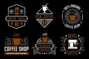 Koffie vintage badge en logo, goed voor uw merk