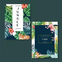 Tropische kaart invitatoin ontwerp zomer met planten gebladerte exotische, creatieve aquarel vector illustratie sjabloonontwerp