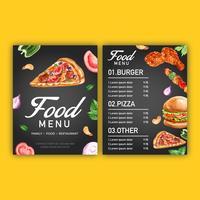 Fast-food restaurant menu ontwerp. Kadergrens het voorgerechtvoedsel van de menulijst, malplaatjeontwerp, het creatieve ontwerp van de waterverf vectorillustratie vector