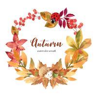 Herfst seizoen krans frame met bladeren en dieren. De kaarten van de herfstgroeten perfect voor druk, uitnodiging, malplaatje, het creatieve ontwerp van de waterverf vectorillustratie