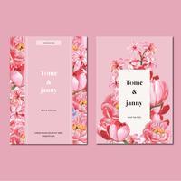 Gelukkig huwelijk kaart bloementuin uitnodiging kaart huwelijk, rsvp detail. ruimte-indeling vintage sieraad mooi, aquarel vector illustratie sjabloon collectie ontwerp