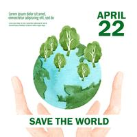 Opwarming van de aarde en vervuiling. Affichevliegerbrochure reclamecampagne, sparen het ontwerp van het wereldmalplaatje, het creatieve ontwerp van de waterverf vectorillustratie vector