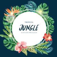 Tropische krans werveling ontwerp zomer met planten gebladerte exotische, creatieve aquarel vector illustratie sjabloonontwerp
