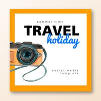 Sociale media Reizen op vakantie zomer het strand Palm vakantie, zee en lucht zonlicht, creatieve aquarel vector illustratie ontwerp