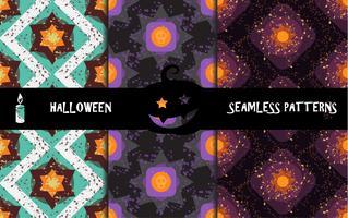 Geometrische naadloze patronen van Grunge de kleurrijke Halloween vector