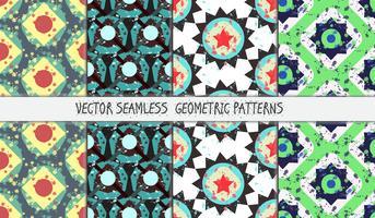 Geplaatste Grunge kleurrijke geometrische naadloze patronen vector