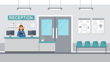medisch personeel vrouwen in receptie ziekenhuis op vlakke stijl. vector