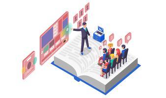 Vector illustratie isometrische bedrijfspresentatie op boek witte achtergrond dia grafiek infographics ontwerp publiek kijkers luisteraars spreker toespraak redenaar speechmaker scherm reclame notebook