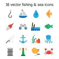 Geïsoleerde zee en vissen pictogrammen instellen