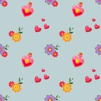 vlakke stijl gelukkig Valentijnsdag patroon met liefdesdrankje