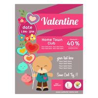 schattige vlakke stijl valentijn poster met panda beer