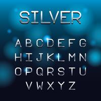 Zilveren lettertype letters alfabet