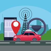gps locatie auto dienstverleningsconcept vector