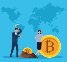 digitale mijnbouw bitcoin vector