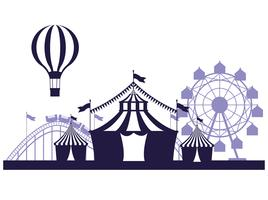 Blauwe en witte kleuren van het circusfestival de eerlijke landschap vector