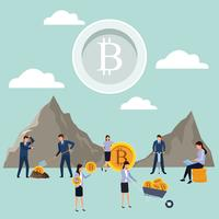 digitaal mijnwerk bitcoin teamwerk vector