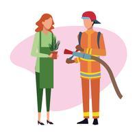 Brandweerman en tuinman Job en werknemers