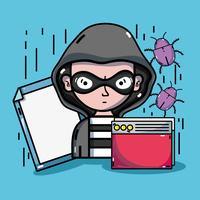 persoon hacker om programmeur virus in het systeem vector