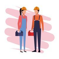 Bouwvakkers partners Job en werknemers vector