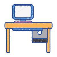kantoor met computertechnologie en houten bureau