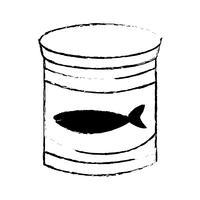 figuur kan tonijnmeel met gezonde voeding vector