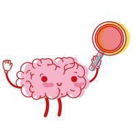 kawaii gelukkig brein met vergrootglas vector