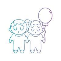 lijn schattige baby's samen met kapsel en ballon