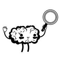 contour kawaii happy brain met vergrootglas