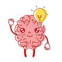kawaii gelukkig brein met lamp idee