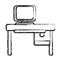 figuur kantoor met computertechnologie en houten bureau
