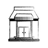figuur school onderwijs met dak en deuren ontwerp