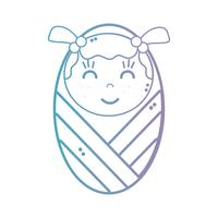 lijn schattige baby meisje met deken en kapsel