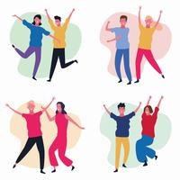 set dansende mensen avatar