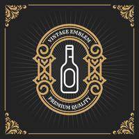 Vintage luxe banner sjabloonontwerp voor label, frame, productlabels. Retro embleemontwerp. Vector illustratie