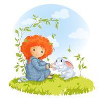 Krullend roodharig meisje en haas zittend op een weide, beste vrienden.