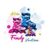 Rolschaatsen voor heren, dames en kinderen. Familie buitensporten voor actieve mensen. Vector illustratie