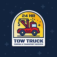 Sleepwagen badge banner. Sticker- en sleepdienstontwerp vector
