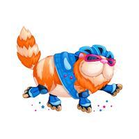 Een belangrijke, dikke rode kat rolschaatsen. vector